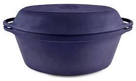 Гусятница чугунная Ситон с чугунной крышкой-сковородой 5 л