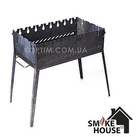 Розкладний мангал валізу на 8 шампурів з чорного металу Год-4
