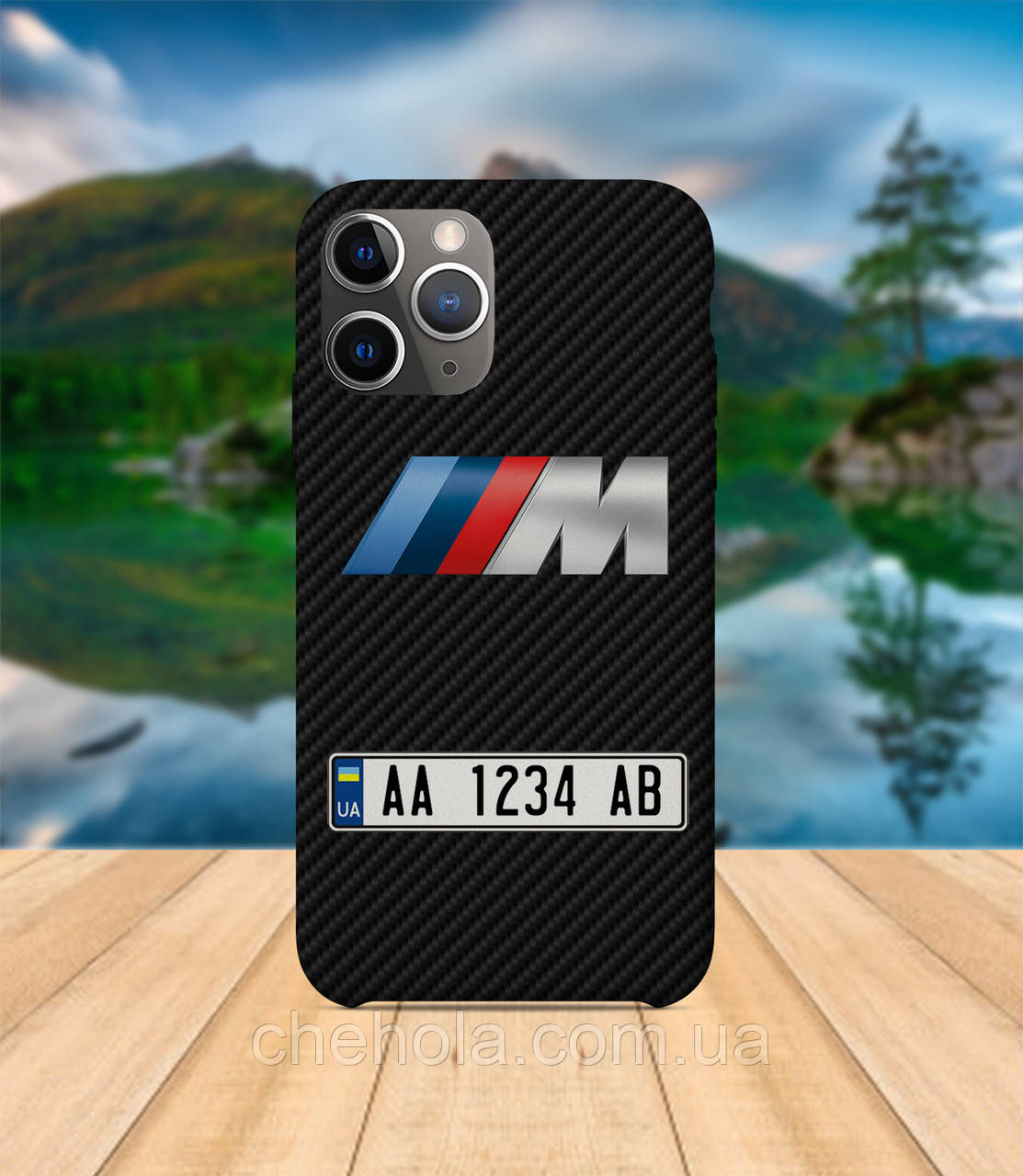 Чехол iPhone 11 PRO MAX карбон Чехол с номером авто bmw с принтом