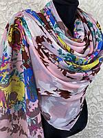 Женский легкий обьемный шарф с цветами (цв 1)