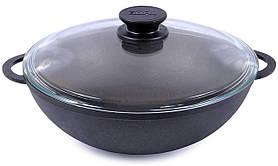 Сковорода чавунна WOK Біол зі скляною кришкою 3л 0526с