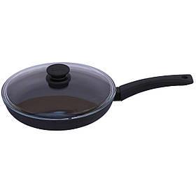 Сковорода Биол Оптима зі скляною кришкою і антипригарним покриттям 24 см 2404ПС