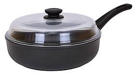 Сковорода антипригарна зі скляною кришкою Елегант Біол 22 см 2209ПС