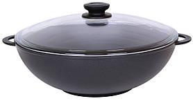 Сковорода алюминиевая WOK со стеклянной крышкой Биол 28 см 2803ПС