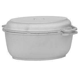 Гусятниця Біол алюмінієва з потовщеним дном і кришкою сковородою-гриль 6 л Г601