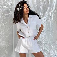 Женский льняной костюм шорты и рубашка оверсайз, фото 1