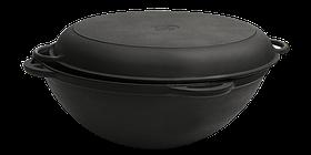 Сковорода чавунна Вок (WOK) Сітон з кришкою сковородою 3,5 л. (d=260, V=3,5 л)