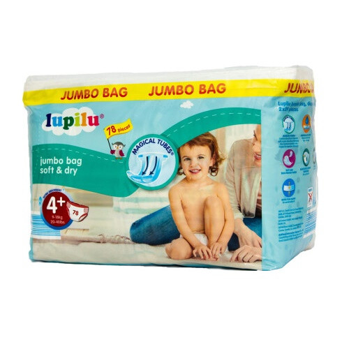 Підгузники Lupilu Soft & Dry №4+ (9-18 кг) 78 шт