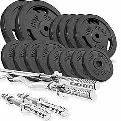 Набір STRONG 76 кг з прямимо, W або Z подібним і гантельними грифами