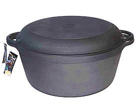 Каструля з кришкою чавунна сковородою Сітон. Об'єм 8 літра.