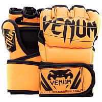 Перчатки для смешанных единоборств Venum 5699 размер S Orange-Black, фото 1