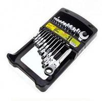 Набор ключей комбинированных, трещоточных с карданом 11 предметов, 8-19 мм. НК-2081-11К Alloid