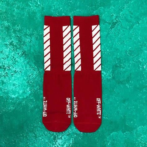 Носки Высокие Женские Мужские Off-White Красные 37-43, фото 2