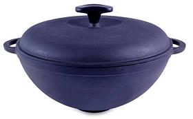 Сковорода чавунна WOK з чавунною кришкою. Об'єм 8 літрів.