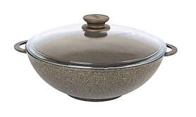Сковорода Wok Биол Гранит браун антипригарная со стеклянной крышкой 28 см 28033ПС