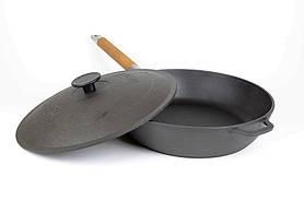 Сковорода чавунна глибока 24 см Біол зі знімною ручкою і чавунною кришкою 03242