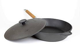 Сковорода Биол 26 см чавунна глибока зі знімною ручкою і чавунною кришкою 03262