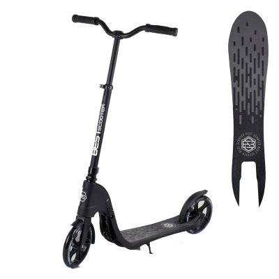 Самокат двухколесный 72378 Best Scooter, колеса 200 мм, широкий велосипедный руль, черный
