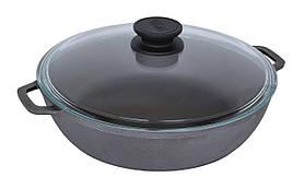 Сковорода чавунна жаровня зі скляною кришкою Біол Ø 28см 03281с