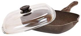 Сковорода-гриль Біол Граніт браун з кришкою 26 см 26143ПС