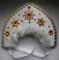 Кокошник снегурочки (белый)