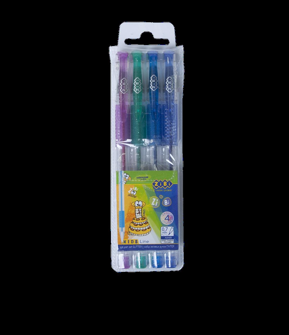 Набор из 4 гелевых ручек GLITTER (с блестками) , Zibi в пластиковом пенале, ZB.2200-99