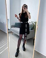 Платье-футболка с поясом женское летнее Venis черное | Женская футболка удлиненная универсальная ЛЮКС качества
