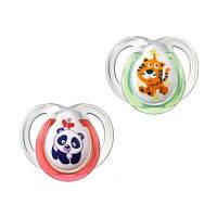 Пустышка Tommee Tippee Веселые друзья тигр и панда 0-6 мес. 2 шт (43335763-1)