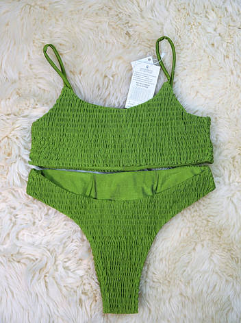 Купальник раздельный жатка зеленый без чашек, фото 2
