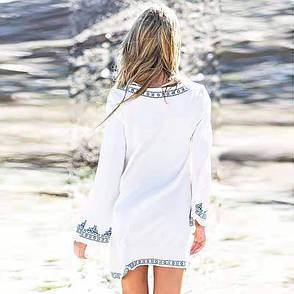 Туника пляжная в этническом стиле белая, фото 2