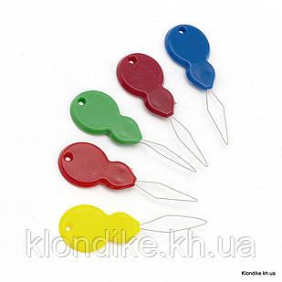Нитковдеватель Железный с Пластиковой Ручкой, 46x16x3мм, Цвет: Микс (5 шт)