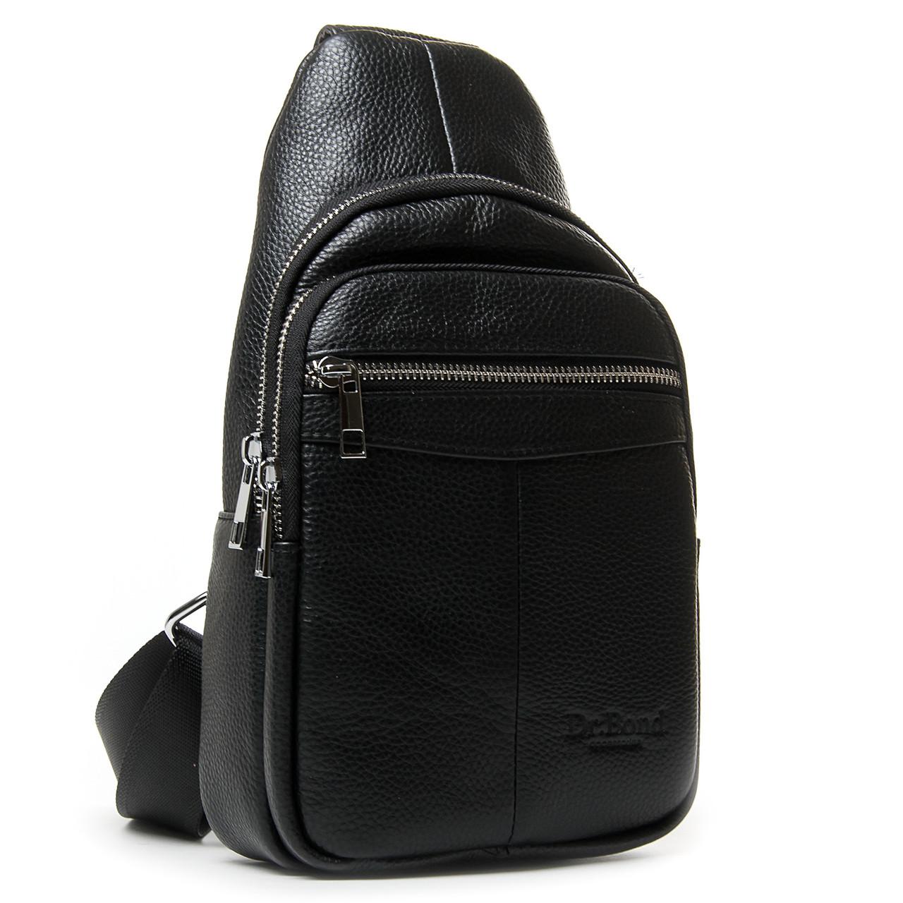 Шкіряна чоловіча сумка слінг crossbody чорна кроссбоди на груди через плече Dr. Bond 698