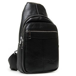 Шкіряна чоловіча сумка слінг crossbody чорна кроссбоди на груди через плече Dr. Bond 698, фото 2