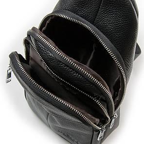 Кожаная мужская сумка слинг crossbody черная кроссбоди на грудь через плечо Dr. Bond 698, фото 2