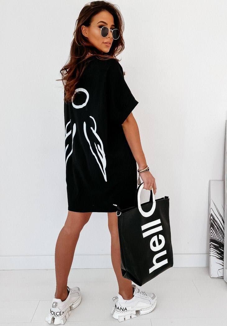 Летнее платье футболка свободное с крыльями черное и белое