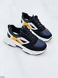 Стильні кросівки жіночі чорні з білим еко-шкіра+ замш+ текстиль, фото 2