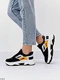 Стильні кросівки жіночі чорні з білим еко-шкіра+ замш+ текстиль, фото 3