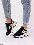 Стильні кросівки жіночі чорні з білим еко-шкіра+ замш+ текстиль, фото 4