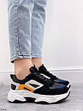 Стильні кросівки жіночі чорні з білим еко-шкіра+ замш+ текстиль, фото 5