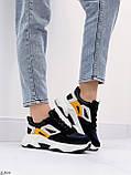 Стильні кросівки жіночі чорні з білим еко-шкіра+ замш+ текстиль, фото 8