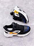 Стильні кросівки жіночі чорні з білим еко-шкіра+ замш+ текстиль, фото 7