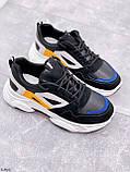 Стильні кросівки жіночі чорні з білим еко-шкіра+ замш+ текстиль, фото 6