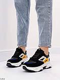 Стильні кросівки жіночі чорні з білим еко-шкіра+ замш+ текстиль, фото 9