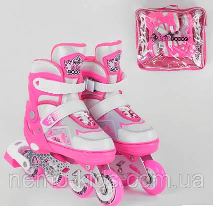 Роликовые коньки Best Roller, Ролики 34 - 37, ПУ колеса ,свет, детские, розовые