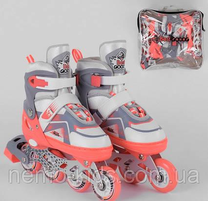 Роликовые коньки Best Roller, Ролики 34 - 37, ПУ колеса ,свет, детские, коралловые
