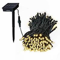 Автономная уличная светодиодная гирлянда на солнечной батарее 10м 100Led теплого свечения