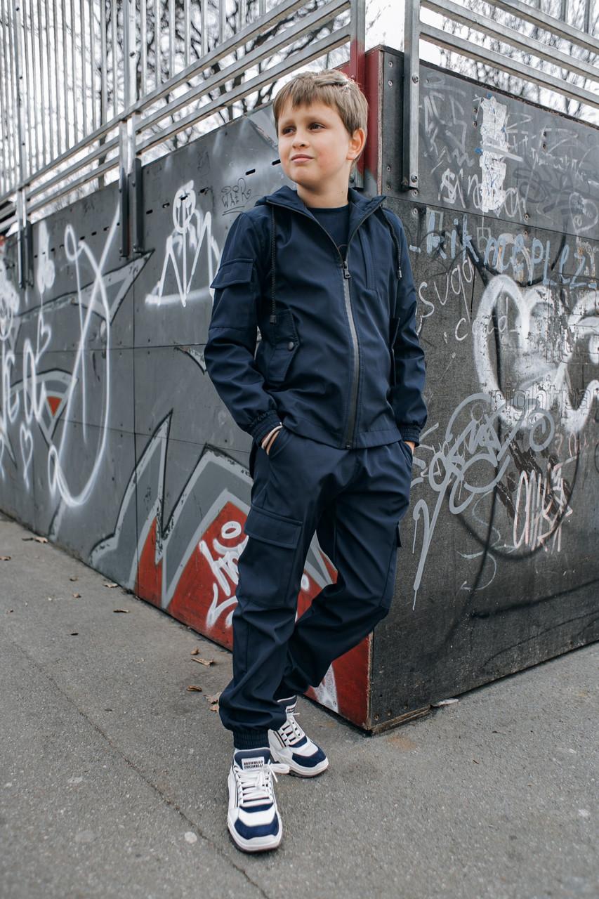 Дитячий синій комплект для хлопчика демісезонний, дитяча вітровка з капюшоном та штани Easy softshell
