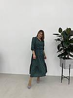 Легкое длинное летнее платье цвет бутылка размеры  укр 46 48 50 52