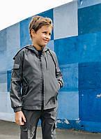 Детская куртка с капюшоном серая для мальчика весна/осень, спортивная ветровка на мальчика Easy softshell