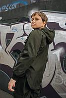 Детская куртка с капюшоном хаки для мальчика демисезонная, стильная ветровка на мальчика Easy softshell